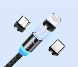 Magnetische oplaadkabel voor smartphone's , incl. 3 opzetstukjes - (ZWART)
