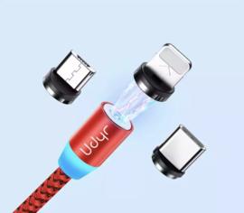 Magnetische oplaadkabel voor smartphone's , incl. 3 opzetstukjes - (ROOD)