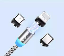 Magnetische oplaadkabel voor smartphone's , incl. 3 opzetstukjes - (ZILVER)