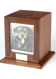 Rosewood Dog urn with picture frame