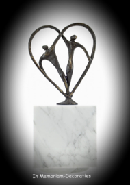 CUBOS WHITE MARBLE WITH BRONZE STATUE AMOUR KEEPSAKE URN
