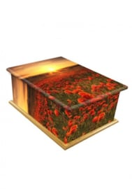 Wooden box urn with oppy flowers