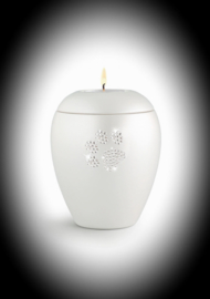 Crystal paw candle urn for ashes white
