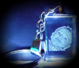 2D Photo in crystal keyring