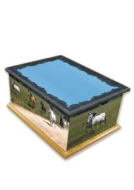 Paarden houten crematie urn