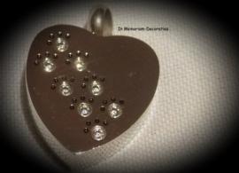 Ashanger hart met zirkonia pootjes (kristal)