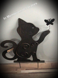 Memorial Stake for garden-cat with butterfly