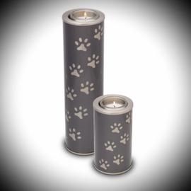 Messing urn hond met kaarshouder - 2 kleuren