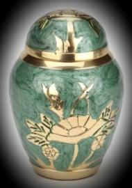 Messing mini urn met bloem -jade groen