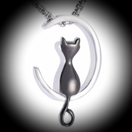 Stainless steel pendant for ashes cat in moon