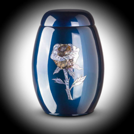 Glasfiber urn met Roos Blauw