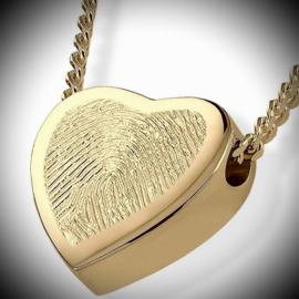 Heart shaped pendant for ashes with fingerprint