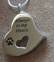 "Pendant for ashes pet""Always in my heart"""