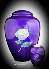 Glasvezel urn set met kaarshouder paars