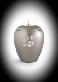 Crystal paw pet urn with candle mink