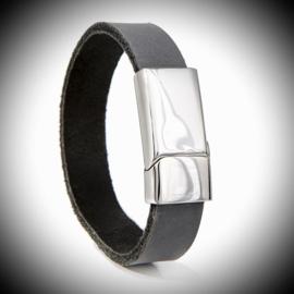 Lederen armband met RVS
