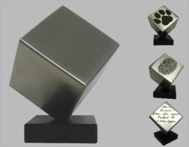 Stainless steel cat urn cube (with your own text)