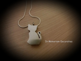 Cat pendant for ashes stainless steel