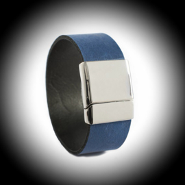Leather bracelet for ashes RVS-or Silver
