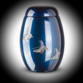 Glasfiber urn met vlinders  Blauw