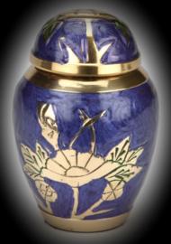 Messing  mini urn met lelie -indigo blue