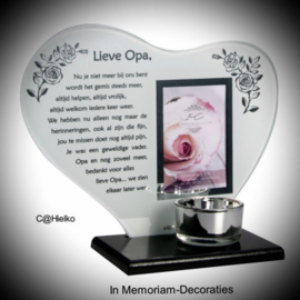"""Candlelight heart with poem and photo """"Lieve Opa"""""""