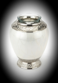 Cremation urn for ashes with candle-Pearl