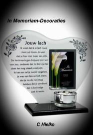 """In memoriam hart  met gedicht """"jouw lach"""""""