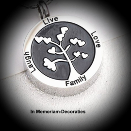tree of life pendant for ashes with inscription
