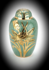 Urn with lily also available as companion urn