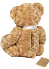 Teddybeer mini urn met lint en tekst