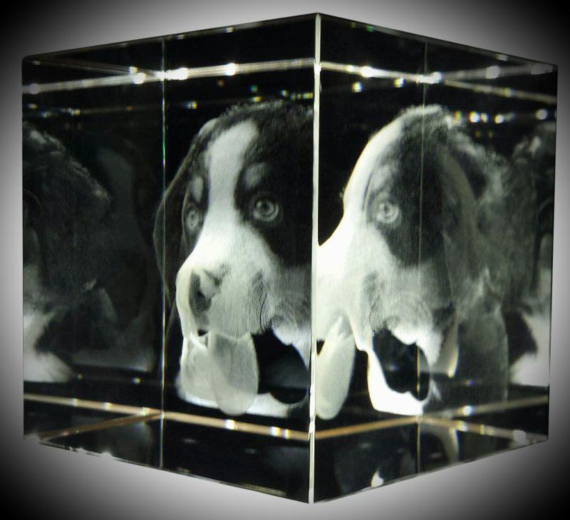 3D foto in glas   80 x 80 x 80 mm Kubus