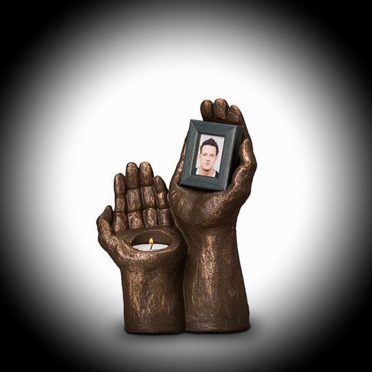 Brons urn met fotolijst en waxinehouder