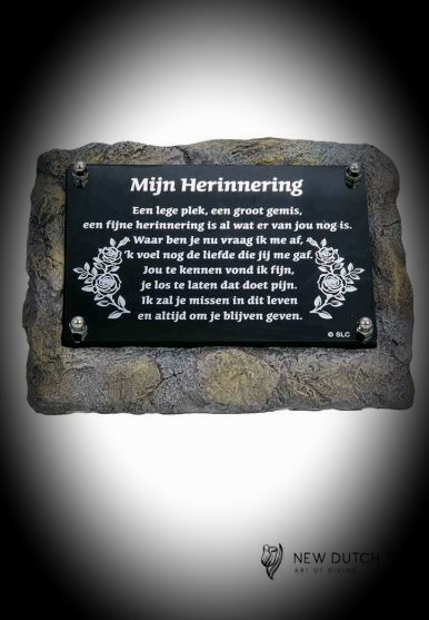 """Gedenksteen(urn)met gedenkplaatje """"Herinnering"""""""