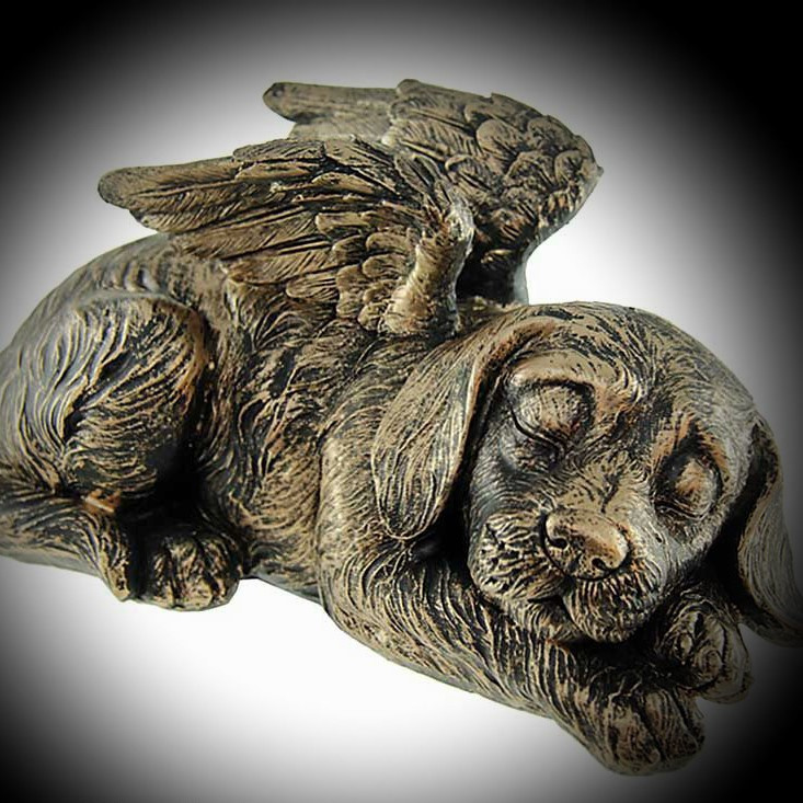 Bronze coloured dog with wings cremation ashes urn