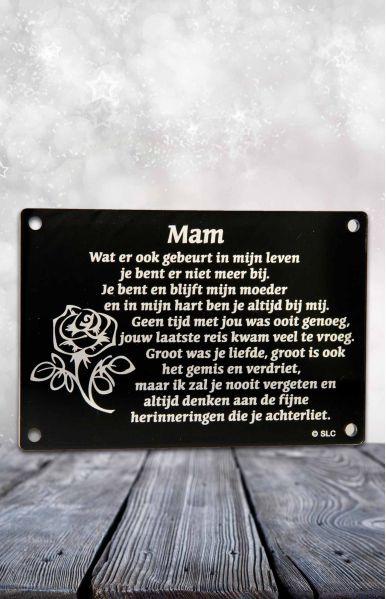 Gedenkplaatje met tekst mam