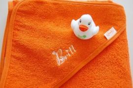 Baby Badcape met naam en/of geboortedatum, oranje