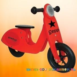 Houten loopfiets scooter rood