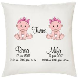 Geboortekussen tweeling *baby 2 meisjes*