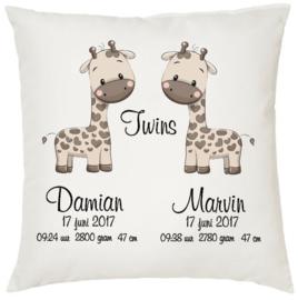Geboortekussen tweeling *Giraffe 2 jongens*