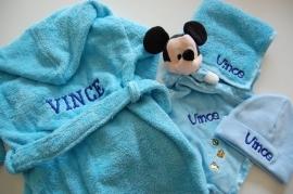 Baby Badjas met naam en/of geboortedatum, baby blauw/licht blauw
