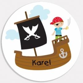 Eetbordje piratenboot met naam