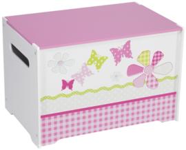 Speelgoedkist roze vlinders en bloemen
