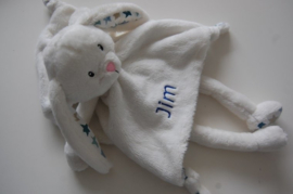 Tuttelpopje / knuffeldoek konijn met naam, wit met roze sterren