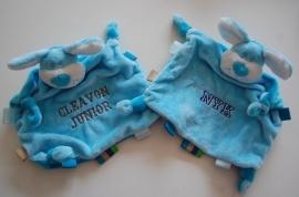 Tuttelpopje / knuffelpop hond met naam, blauw