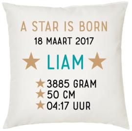 Geboortekussen met naam en geboortegegevens A Star is Born 1 jongen/meisje