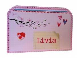 Koffertje roze met ruitje 30 cm, naar aanleiding van het geboortekaartje