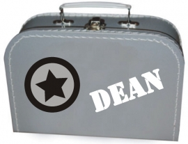 Zilver koffertje met naam, 25 cm