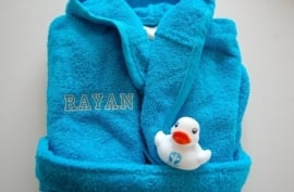 Baby Badjas met naam en/of geboortedatum, turquoise/blauw
