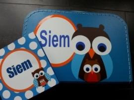 Koffertje donker blauw 30 cm, naar aanleiding van het geboortekaartje